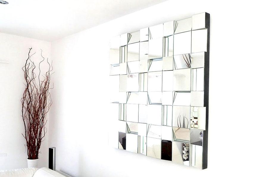 Фацетная зеркальная плитка изготовливается не только из стекла, но также из полиуретана и пластика
