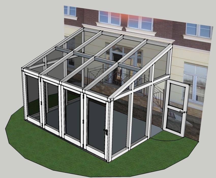Прямоугольная светопрозрачная конструкция в виде пристройки зимнего сада к дому с односкатной крышей