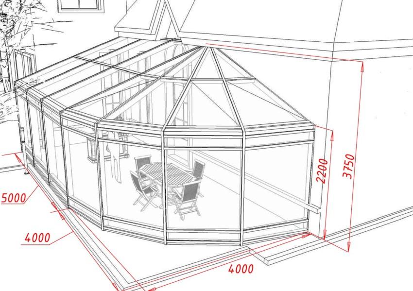 Схема постройки зимнего сада в частном доме