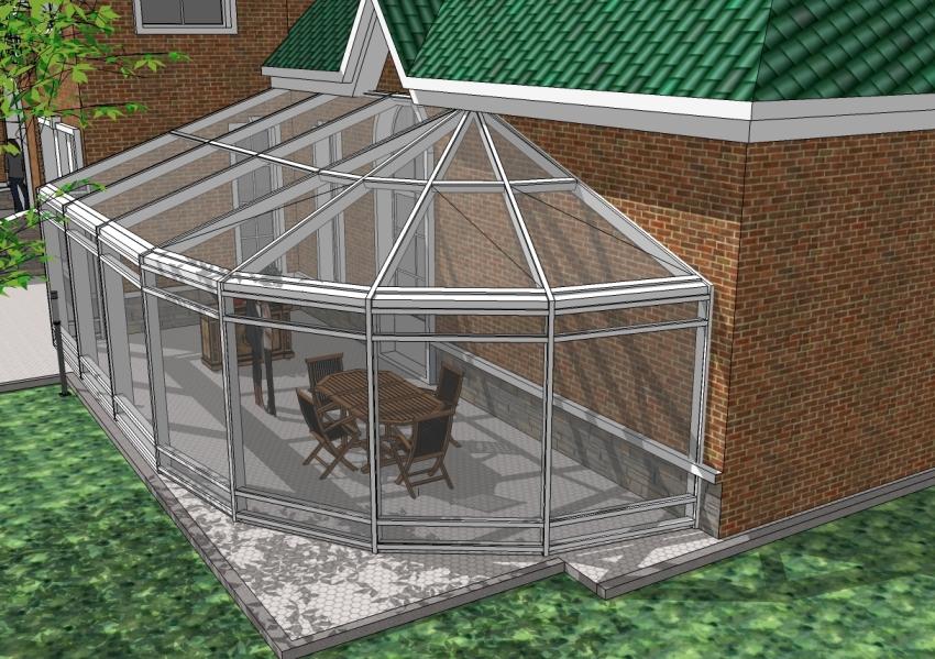 Проект зимнего сада пристроенного к дому