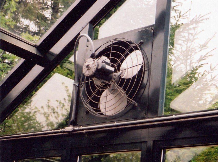 Вентиляция зимнего сада осуществляется настенным вентилятором
