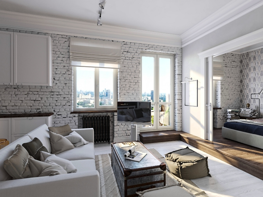 Важно правильно организовать разделение общей площади на две основные зоны: гостиную и спальную