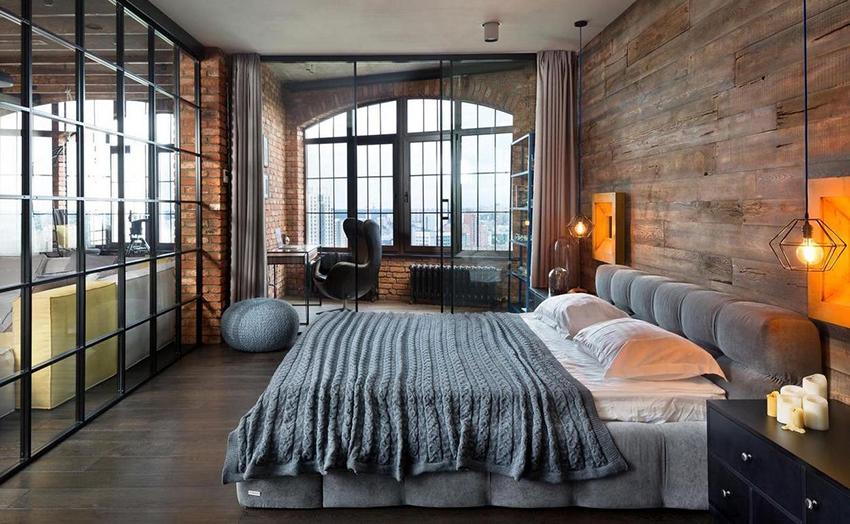 Combining the bedroom with a balcony can significantly expand the space