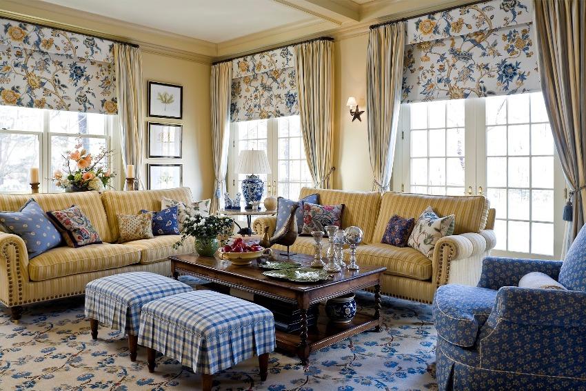Гостиная, выполненная в стиле прованс, придаст дому уют и ощущение умиротворенности