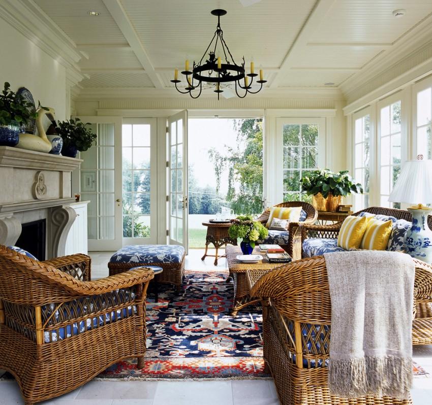 В оформлении гостиной в стиле прованс часто используется оригинальная плетеная мебель