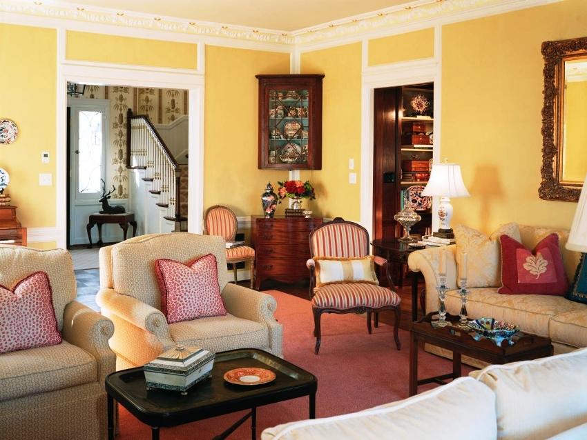 Чтобы правильно подобрать материалы для отделки гостиной в стиле прованс необходимо отказаться от использовать современных технологий