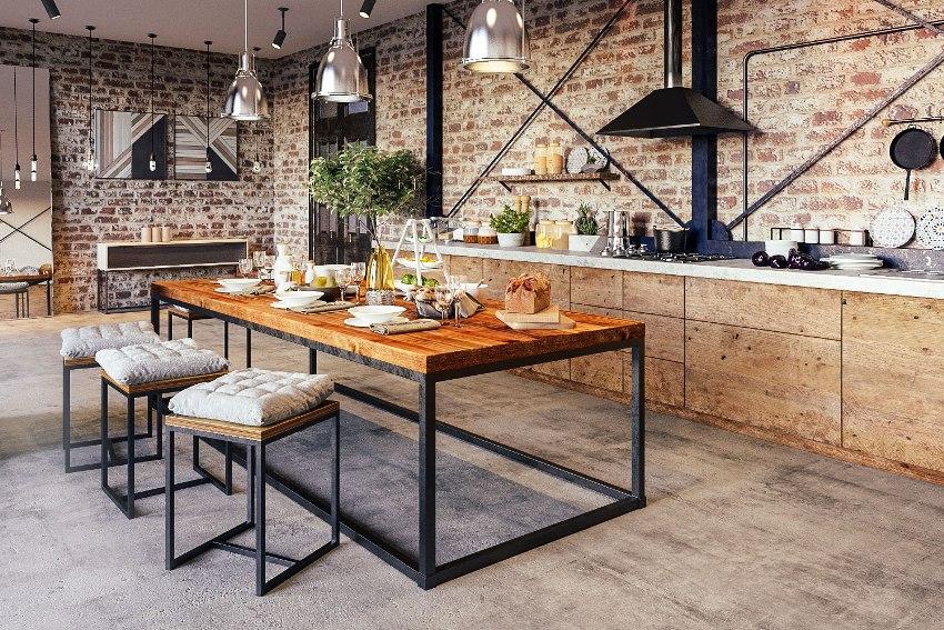 Кухня в стиле «лофт» с использованием в качестве отделки стен кирпичной кладки