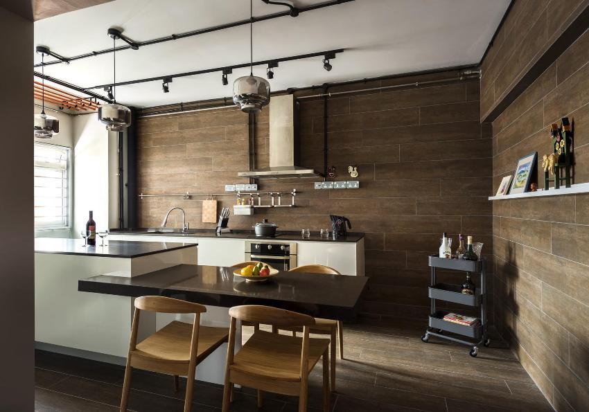 Богатство цветовой палитры керамогранитной плитки позволяет воплотить в интерьере кухни как традиционные, так и креативные дизайнерские решения