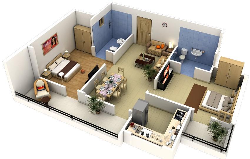 Благодаря 3D изображению владельцы квартиры могут оценить проект в реалистичной обстановке