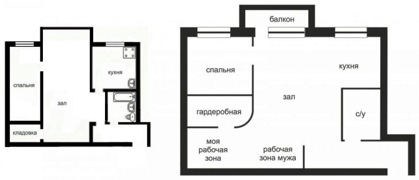 Схема перепланировки типовой квартиры в студию