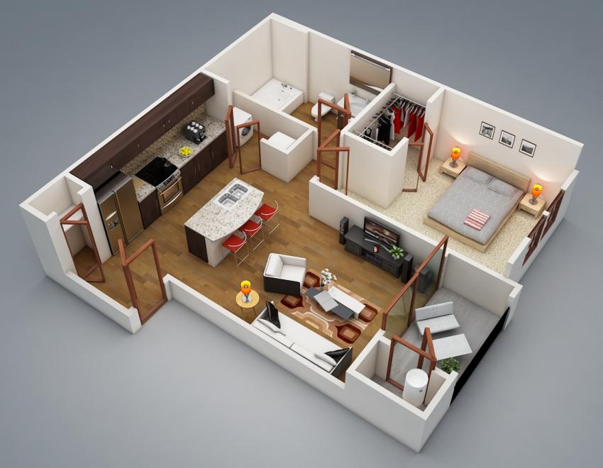 Все предметы, элементы дизайна интерьера квартиры получают зрительную форму благодаря технологии трехмерного моделирования