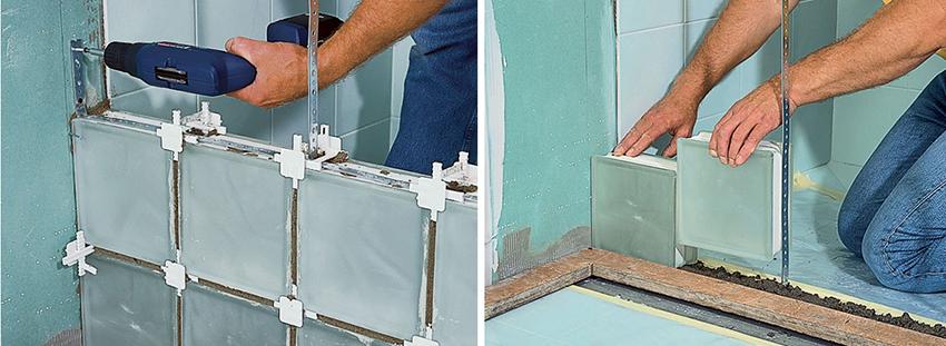 Монтаж стеклоблоков может выполняться встык или на каркасный модуль