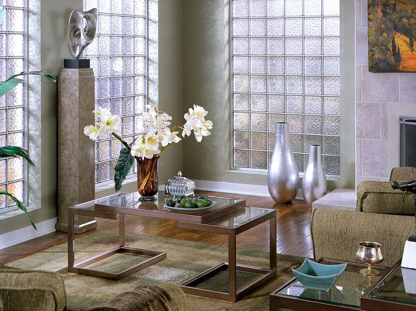 Перед использованием стеклоблоков нужно детально продумать стиль помещения