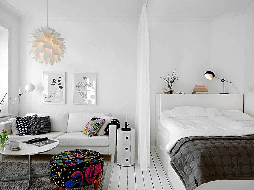 зонирование комнаты на спальню и гостиную дизайн и наполнение
