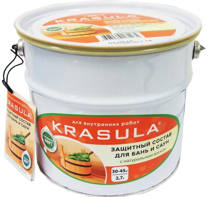 Влагозащитная пропитка Krasula предназначена для обработки деревянных поверхностей внутри бани и сауны