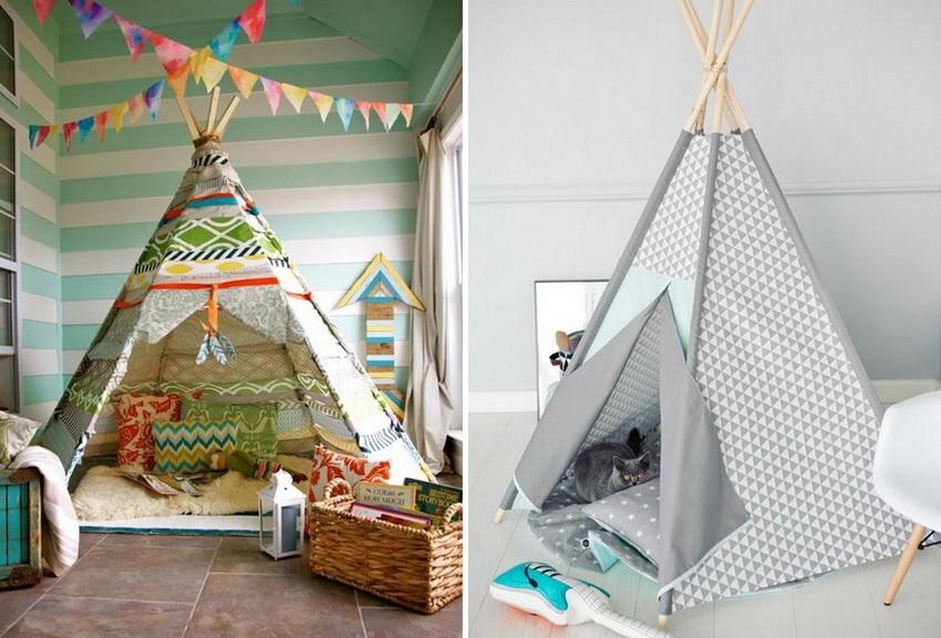 Палатка в виде индейского вигвама - это очень удобная и легкая конструкция, которую можно установить в детской комнате