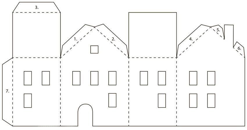 Схема шаблона домика из картона