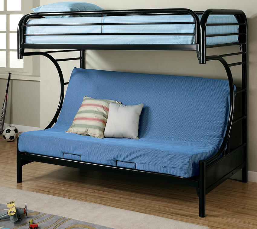 Диван в двухъярусной кровати может быть оснащен разным типом механизма