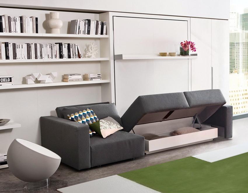 Диван-кровать трансформер превосходно подходит для установки в гостиной