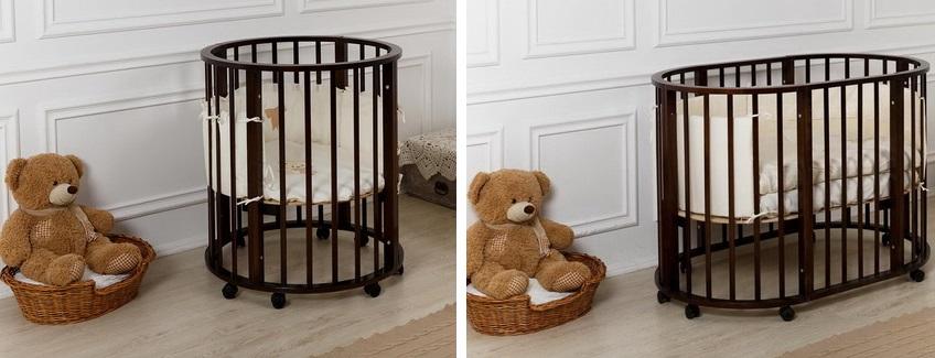 Круглая детская кроватка трансформер позволяет использовать ее начиная от младенчества до 5-6 лет