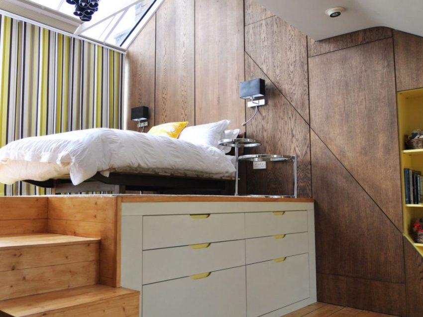 Для самых маленьких комнат с высокими потолками целесообразно использовать вертикальные конструкции