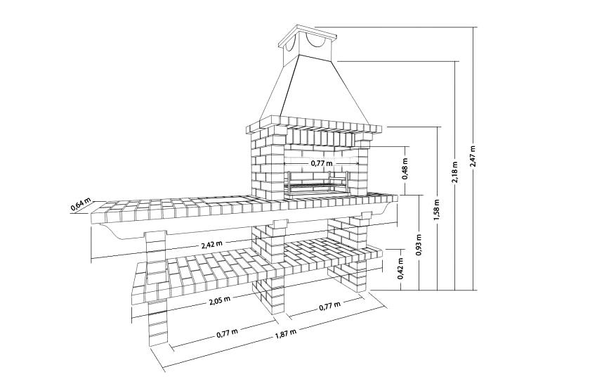 Пример чертежа мангала из кирпича