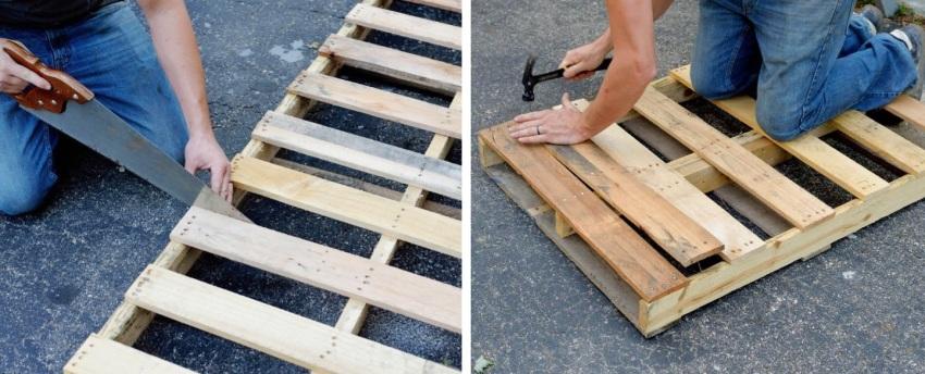 Стол из паллеты, шаги 2 и 3: заполнение досками верхней поверхности будущего изделия