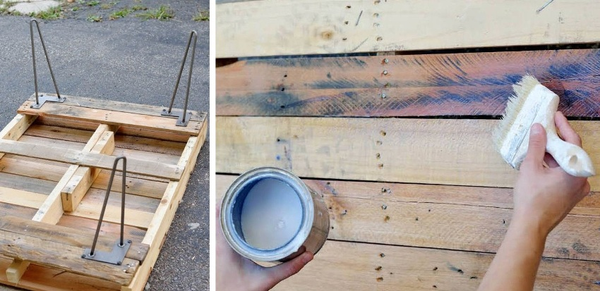 Стол из паллеты, шаги 6 и 7: крепление к основанию стола ножек и покрытие изделия лакирующим составом