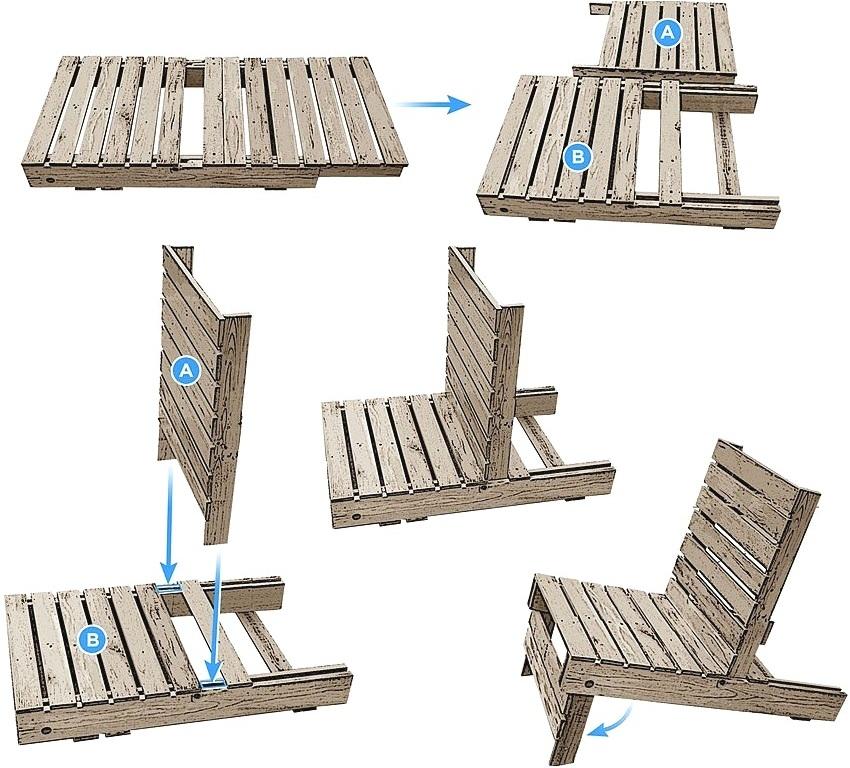 Схема изготовления дачного стула из транспортировочных паллет