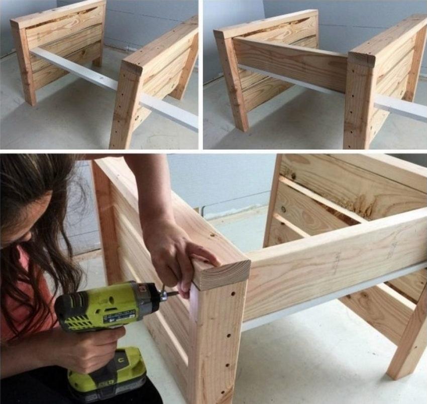 Шаги изготовления кресла с подлокотниками из деревянных паллет