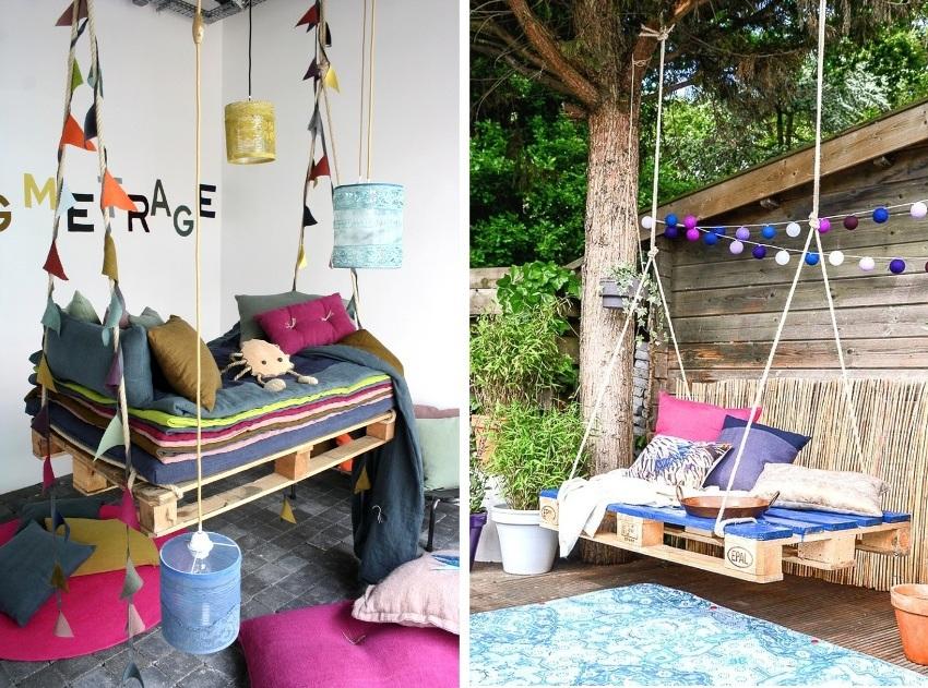 Интересные идеи для создания садовых качелей из поддонов