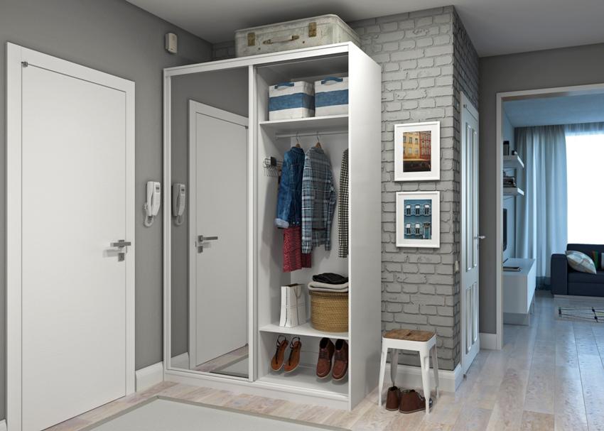 Наиболее удобными для прихожей считаются комбинированные модели, которые представляют собой сочетание закрытых и открытых шкафов