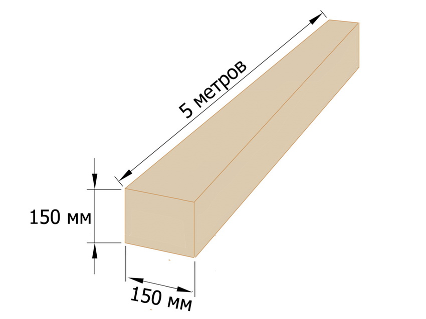Пятиметровый обрезной брус 150х150 мм