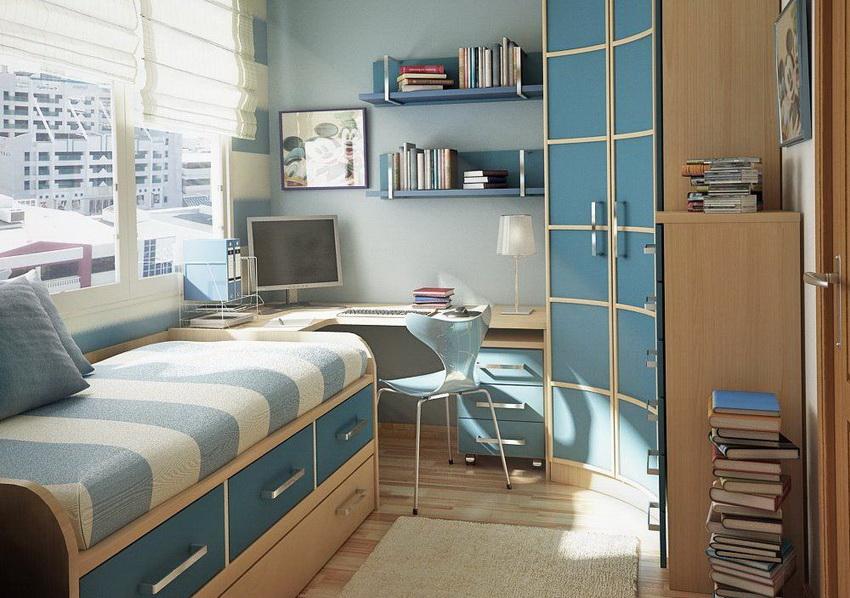 Угловой шкаф с вогнутой конструкцией - лучшее решение для маленькой спальни