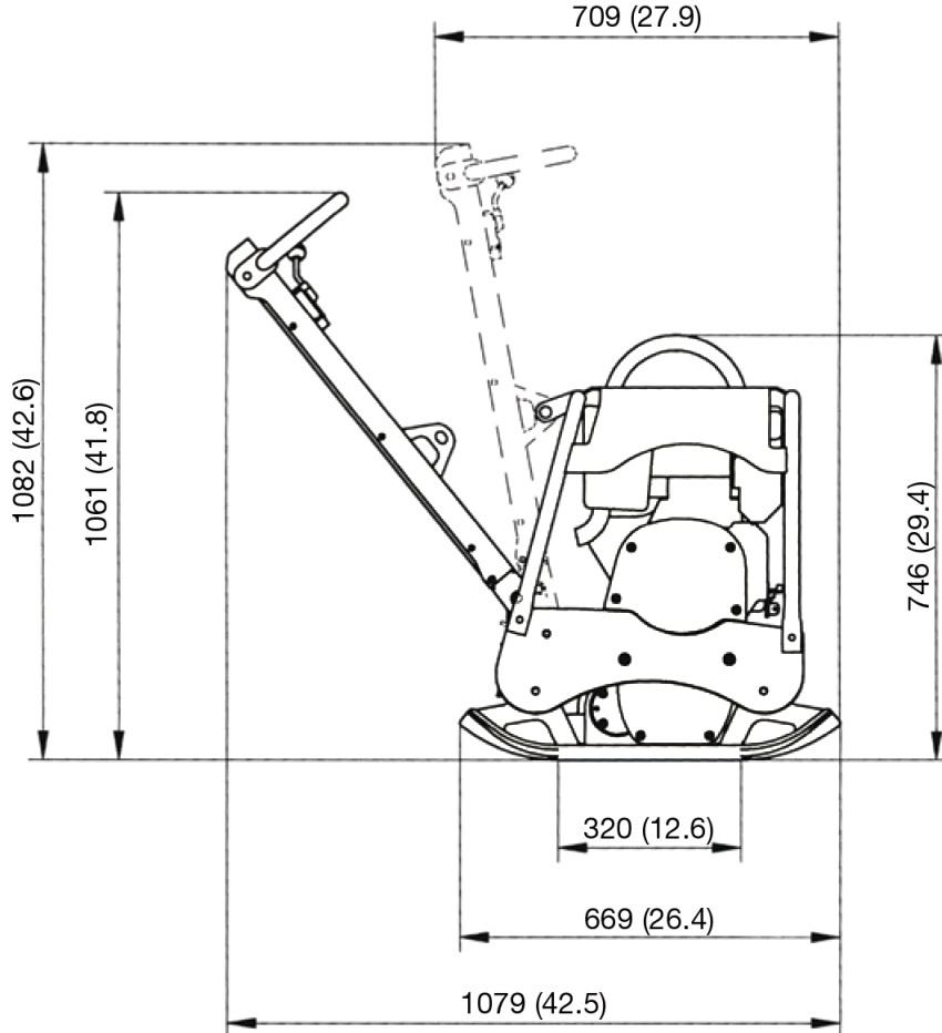 Схема с размерами виброплиты электрической