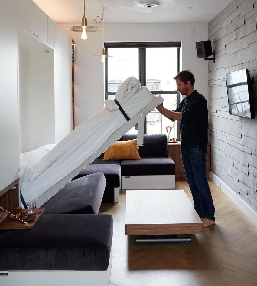 Складные кровати встроенные в шкаф незаменимы в маленьких квартирах