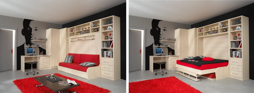Прекрасный вариант для гостиной - комбинированная с диваном кровать