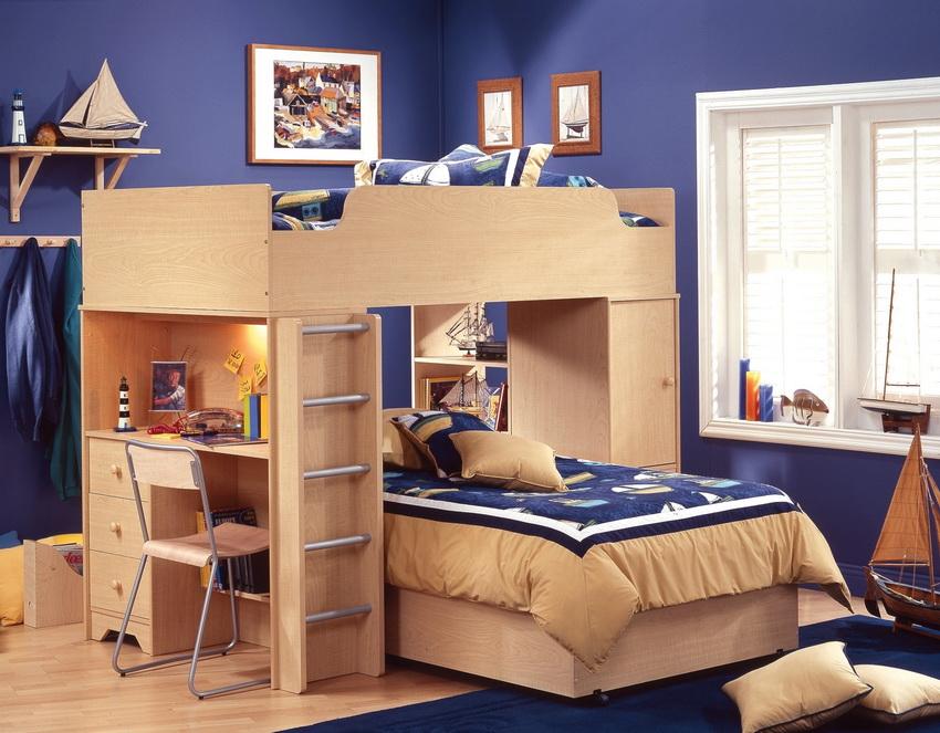 Двухъярусная модульная конструкция комбинированная со шкафом и столом идеально подойдет для детей разных возрастов