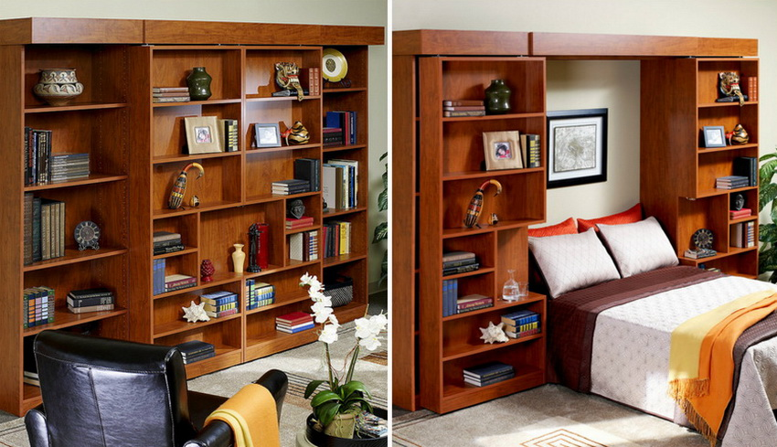 Встроенная в шкаф кровать: эргономичный и современный элемент интерьера подробно, с фото