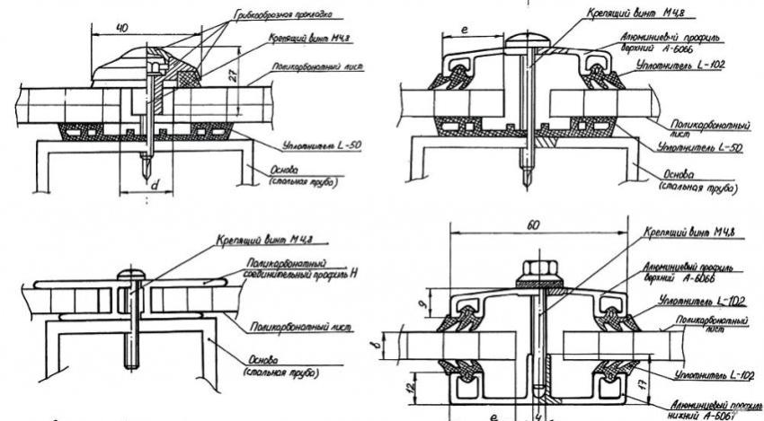 Схема крепление листов сотового поликарбоната