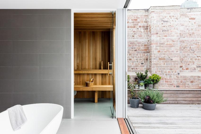 Вариант бани как непосредственное продолжение здания, как вспомогательная комната