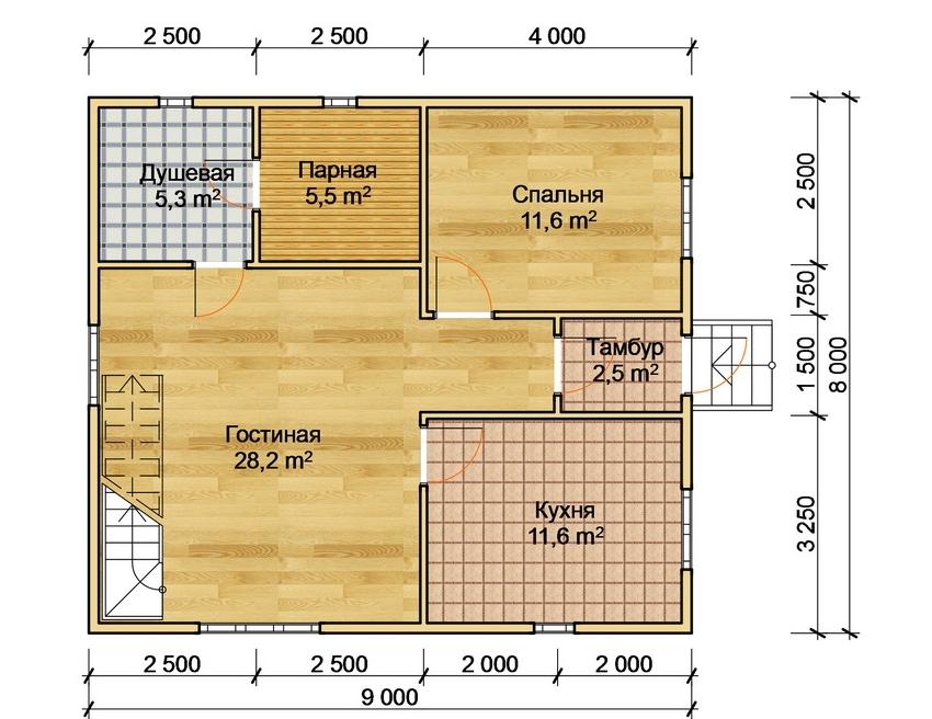 Проект жилого дома с баней под одной крышей