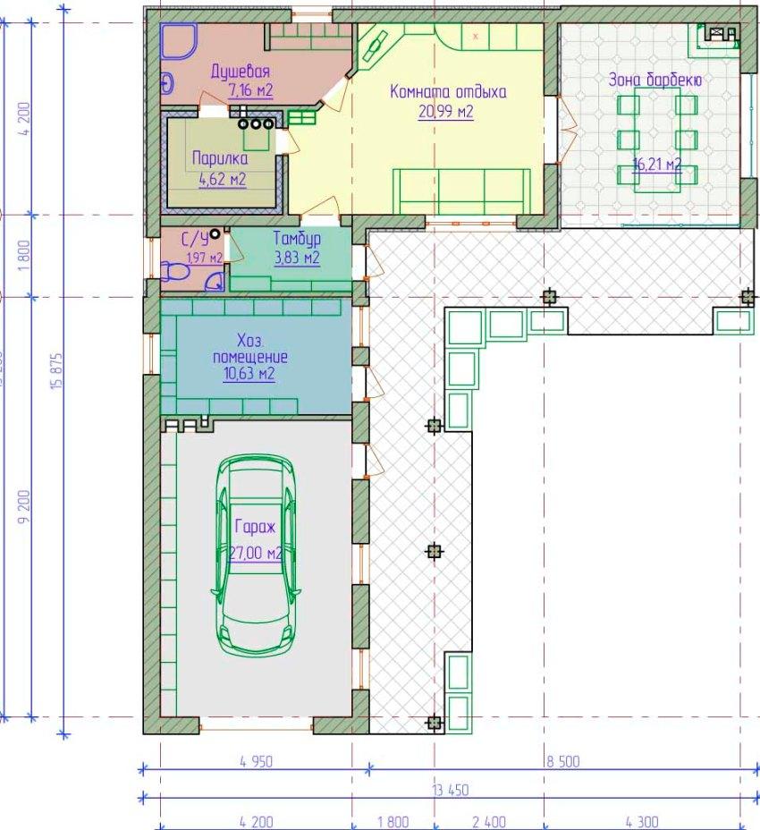 План-схема дома с гаражом и баней под одной крышей