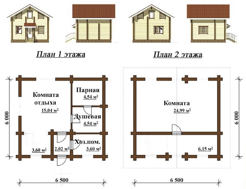Проект двухэтажной бани с комнатами для отдыха на первом и втором этажах
