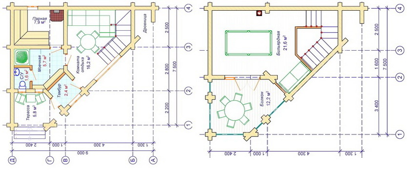 Планировка угловой бани - первый и второй этаж