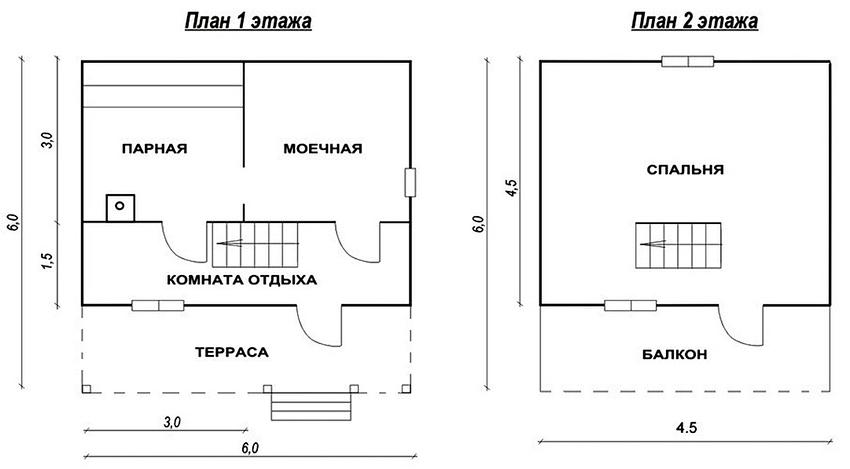 Проект бани размером 6х6 м со вторым мансардным этажом