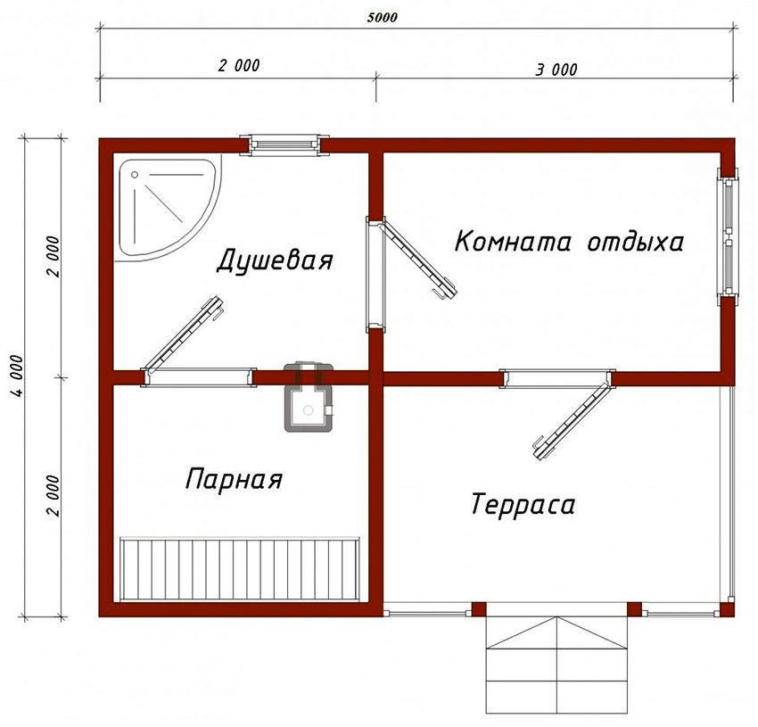 Проект небольшой бани размером 4х5 м с душевой 4 м²
