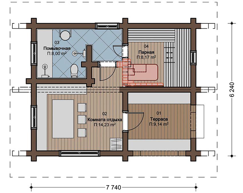 Проект бани размером 7,74 на 6,24 метра