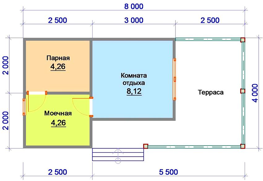 Проект бани 8 на 8 метров с комнатой отдыха, моечной и террасой