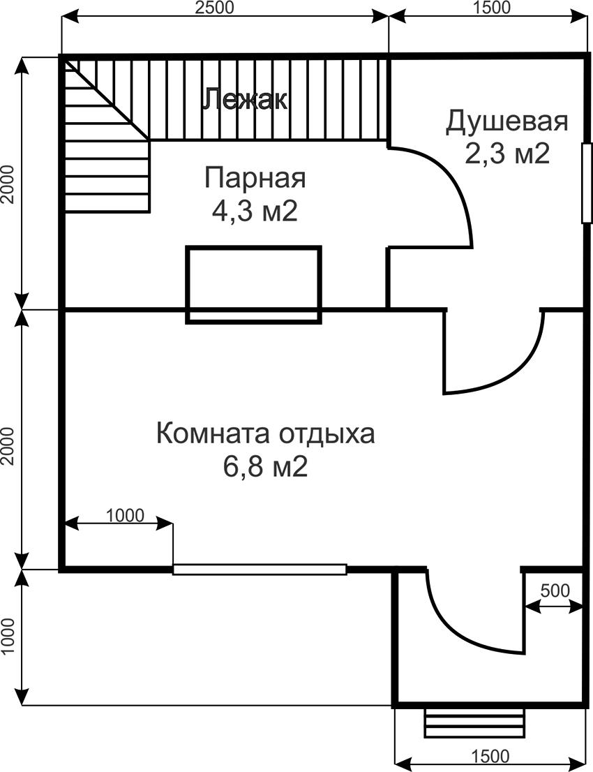 Проект бани 4 на 4 метра с парной, комнатой отдыха и душевой